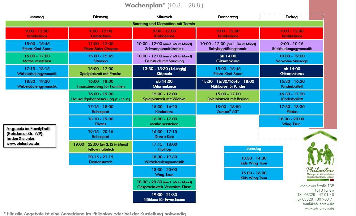Wochenplan August